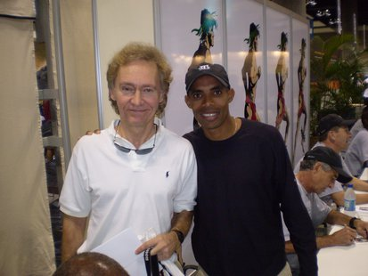 Two marathon runners:  Our reporter Terry Pezl (L) and Boston Marathon 2014 winner   Meb Keflezsghi (R).