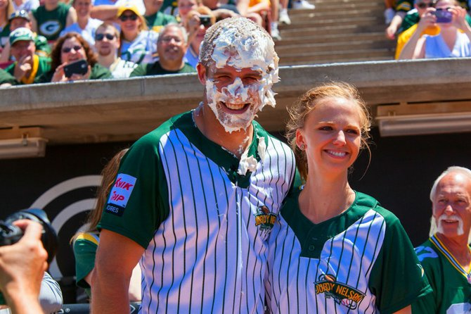 Jordy got hit with a pie at the Jordy Nelson Charity Softball Game.  See all our pictures at: http://wixx.com/galleries/2205/  (copy and paste into your browser)