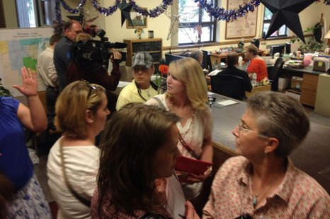 The scene at the Winnebago County Clerk's Office in Oshkosh, June 11, 2014, after the clerk decided to accept applications for marriage licenses from same-sex couples. (Photo from: FOX 11).