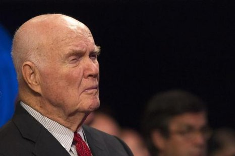 Retired astronaut and former U.S. Senator John Glenn looks on during the first day of the Clinton Global Initiative 2012 (CGI) meeting in New York, September 23, 2012. CREDIT: REUTERS/LUCAS JACKSON