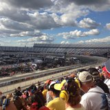 Fans watch a NASCAR race.