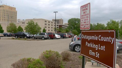 Outagamie County-owned lot planned to be used for future Appleton convention center. (Photo from: FOX 11).