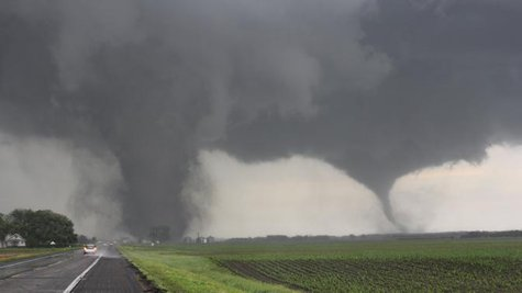 Two tornadoes touch down near Pilger, Nebraska June 16, 2014.  CREDIT: REUTERS/DUSTIN WILCOX/TWISTERCHASERS