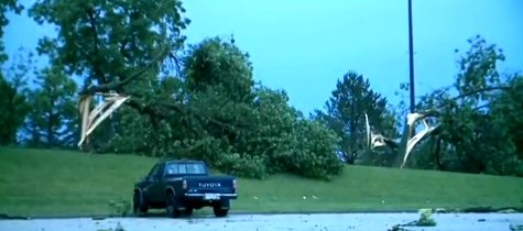Storm damage seen in Platteville on Tuesday June 17, 2014. (Photo from: FOX 11/YouTube).