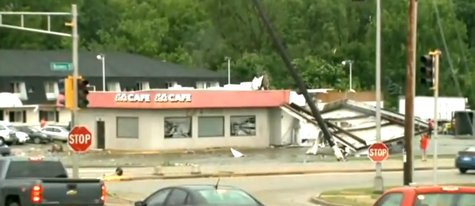 Part of the damage left behind by tornadoes that tore through Platteville. As seen on Tuesday June 17, 2014. (Photo from: FOX 11/YouTube).