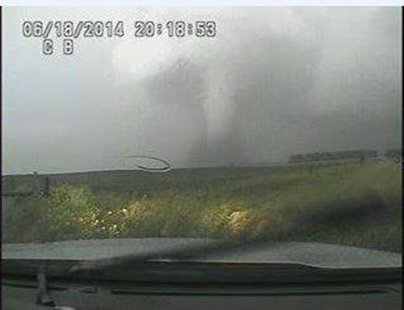 Wessington Springs Tornado captured by dashcam of SD Highway Patrol - Photo courtesy SD Highway Patrol Facebook