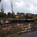 Tornado damage in Wessington Springs, SD 6/18/14 - Photo courtesy South Dakota Highway Patrol Facebook