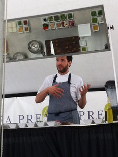 Cooking demonstration feature Three Three Five Chef Christopher Mangless at Savour Green Bay. (Photo from: Facebook/Mosaic Arts Inc.)