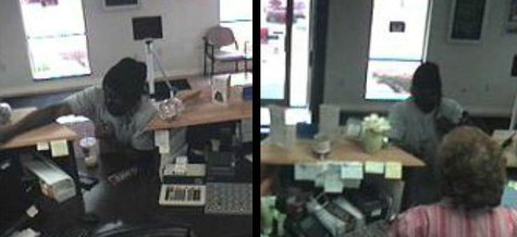 Two bank surveillance camera photos of the robbery in progress. Do you recognize this man?