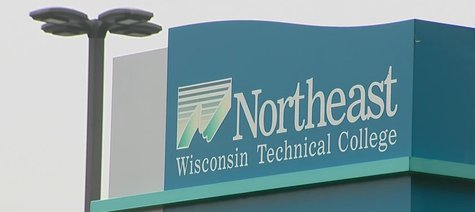 Northeast Wisconsin Technical College sign (Photo from: FOX 11/YouTube).