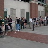 Fans line up at Lambeau Field June 23, 2014, to buy tickets for Packers Family Night, presented by Bellin Health. (Photo from: FOX 11).