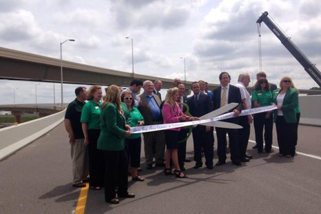 State and local officials hold a ribbon-cutting ceremony for the new flyover ramps connecting highways 41 and 29 in Brown County, June 23, 2014. (Photo from: FOX 11).