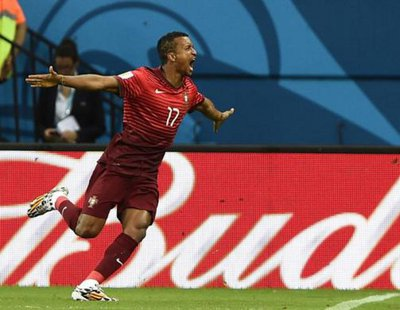 Portugal's Nani celebrates scoring a goal against U.S. June 22, 2014.  REUTERS/Dylan Martinez