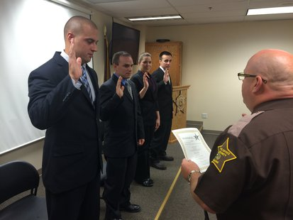 Swearing-in LtoR - Ellsworth,  Hartleroad, Parmer, Pirtle, Sheriff Ewing