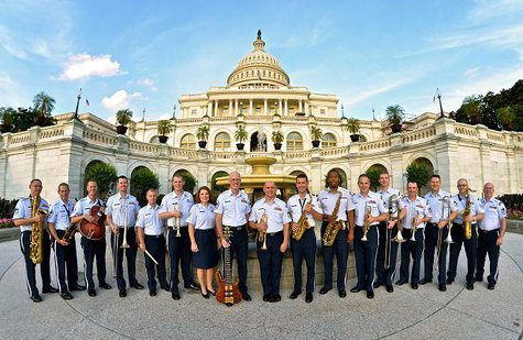 The Air Force Airmen of Note pose at the U.S. Capitol.