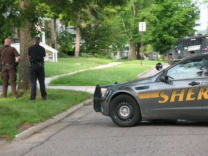 Scene of Rhinelander standoff 6/24/14.  Photo: WXPR Radio