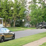 Oneida County Special Response Unit in action during armed standoff.  Photo: WXPR Radio