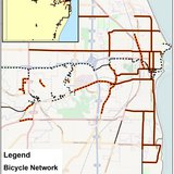A map of all trails and bike lanes in place and planned in Sheboygan and Sheboygan County as of 2014.