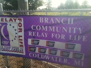 A banner for the American Cancer Society Branch County Relay For Life.