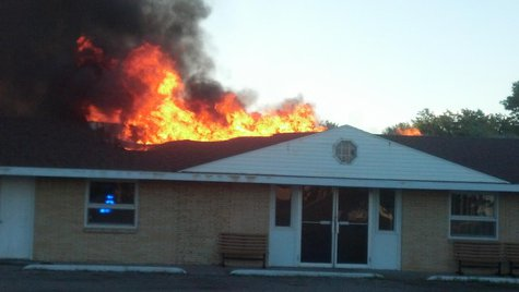 Moorhead Baptist Church burns