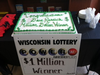 All who go to the Weeden Creek Q-Mart got a slice of cake for selling the million dollar ticket.