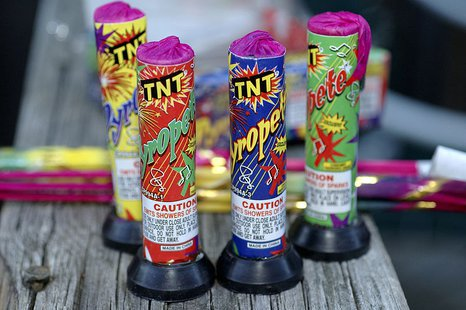 Fireworks bought at a roadside stand. (Photo By Bill Koplitz (This image is from the FEMA Photo Library.) [Public domain], via Wikimedia Commons).
