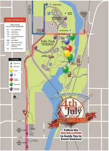 Map of events for Sioux Falls Fourth of July Celebration. (SF.gov)