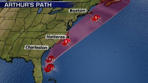 Hurricane Arthur's projected path up the East Coast.