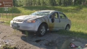 Car rolls along Highway 10 near Buffalo River State Patrol
