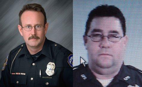 Officer Perry Renn of IMPD left Gary Patrolman Jeffrey Westerfield right