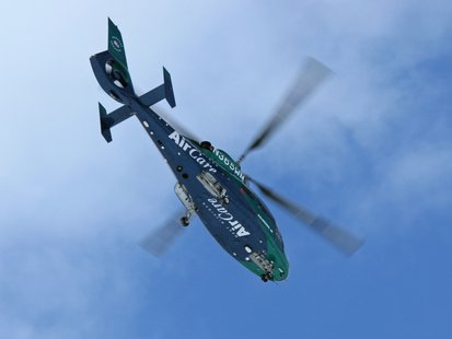 Motorcyclist was airlifted to Borgess suffering from multiple serious injuries.