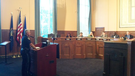 Chief Jeff Hadley Addresses City Commissioners on the weekend's gun violence.