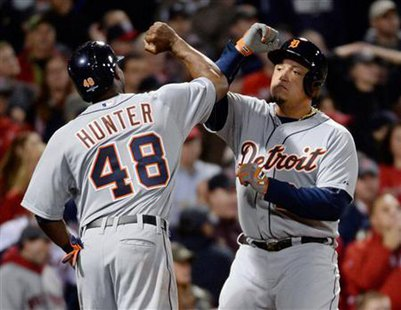Detroit Tigers players Torii Hunter (left) and Miguel Cabrera. Robert Deutsch-USA TODAY Sports