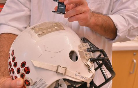 A closer look at the sensors embedded in the helmet.