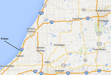 Bridgman is located on the lake shore in Berrien County