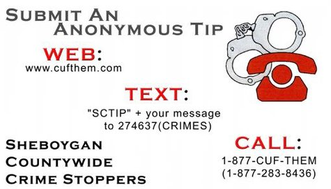 Contact information for the Sheboygan County Crime Stoppers.