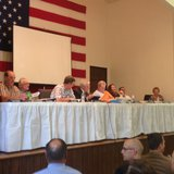Town of Wilson Plan Commission members at a public hearing July 16, 2014.