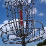 A disc golf basket.