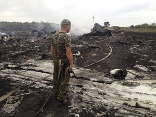 An armed pro-Russian separatist stands at a site of a Malaysia Airlines Boeing 777 plane crash in the settlement of Grabovo in the Donetsk region, Ukraine July 17, 2014. Credit: Reuters/Maxim Zmeyev
