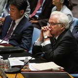 Russian Ambassador to the United Nations Vitaly Churkin listens during a U.N. Security Council meeting regarding the situation in Ukraine and the recent downing of Malaysia Airlines Flight MH17 at the United Nations headquarters in New York July 18, 2014. Credit: Reuters/Lucas Jackson