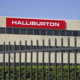 The company logo of Halliburton oilfield services corporate offices is seen in Houston, Texas April 6, 2012. CREDIT: REUTERS/RICHARD CARSON