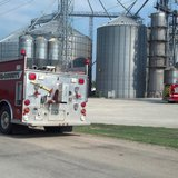 Fire crews respond to blaze at Nutrition Service Company on Deer road, just northwest of Pulaski, on July 21, 2014. (Photo from: FOX 11).