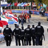 New York Police Department counter-terrorism officers patrol the course near the finish line area in Central Park before the start of the New York City Marathon in New York, November 3, 2013. CREDIT: REUTERS/MIKE SEGAR