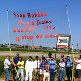 Dakota Resource Council members protest Bakken oil tanker cars in Grand Forks