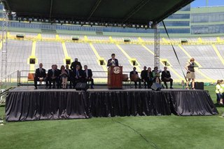 Green Bay Packers President/CEO Mark Murphy speaks during the team's annual shareholders meeting, July 24, 2014, at Lambeau Field. (Photo from: FOX 11).