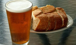 Some bread with beer.