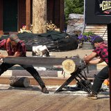 Lumberjacks ( Matt Bolton and Andy Colle in the crosscut saw event at the Great Alaskan Lumberjack Show in Ketchikan, Alaska by WKnight via Wikicommons.com)