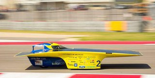 The University of Michigan Solar Car looks as fast as it runs.