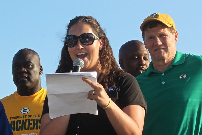 Katie hosting the Packers 5K with Mark Murphy