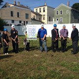 Representative of Habitat for Humanity-Lakeside, U.S. Bank, and the City of Sheboygan break ground for a new home on the 1000 block of Erie Avenue for the Chang family (pictured second and fourth from left).